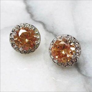 Golden Topaz Crystal Post Earrings,NWT